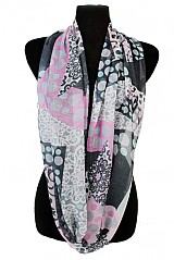 Polka dot and Flower Pattern Super Softness Mini Scarf