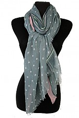 Border Lined Stripped Polka Dotted Frayed End Scarves