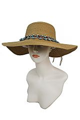 Boho Trimmed Bead And Pom Pom Fashion Floppy Sun Hat
