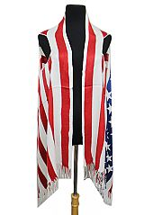 American Flag Thick Textured Fringed Vest Kimono