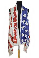 Abstract American Flag Dyed Vintage Print Softness KImono
