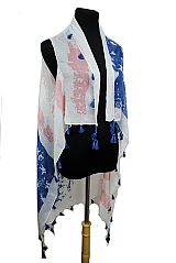 American Flag Color Vintage Look with Tassel Design Vest Cardigan Style