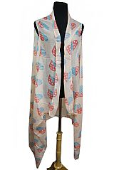 Patriotic Heart Filled Printed Softness Kimono