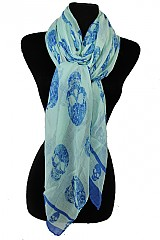 Rebel Designer Skull Printed Oblong Loads Of Softness Scarves