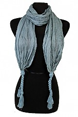 Wrinkled Textured Basic Double Knotted Ends Softness Scarves