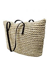 Natural Woven Straw Tote Bag