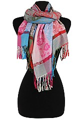 Silky Plaid Floral Color Full Pashmina & Shawl