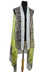 Ultimate Leopard Print And Colorful Softness Kimono Cardigan Vest