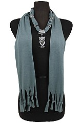 Jersey Feel Owl Heart Charm Scarves