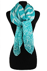 Striped Floral Color Full Scarves & Wraps