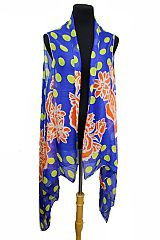 Polka dot and Flower Design Colorful Super Softness Vest Kimono