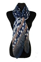 Star Stripped Oblong Softness Scarves