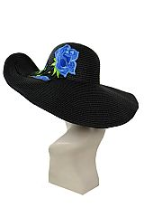 Bright And Bold Blue Trio Rose Embroidered floppy with Wire Fashion Sun Hat