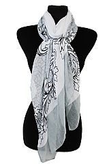Vine Leaf And Center Cobble Stone Pattern Super Softness Scarves