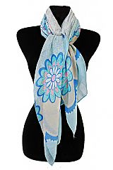 Outlined Gerbera Daisy Bouquet Pattern Softness Scarves