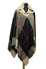 Plaid Pattern Thick Knitted with Hoodie Design Poncho