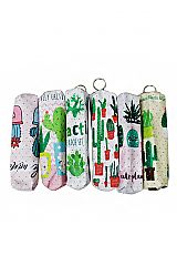 Animated Cactus Printed Cosmetic Pouch with One Zipper Closure
