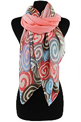 Multiple Color Swirls Pattern Softer Scarves & Wraps
