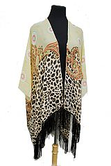 Odd Shaped Circle Mixed With Paisley And Animal Print Open Cover Up with Tassel Kimono