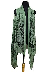 Big Leaves Design Semi Sheer Sleeveless Cotton Feel Super Softness Cardigan Style