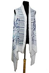 Aztec Pattern Semi Sheer Sleeveless Cotton Feel Super Softness Cardigan Style