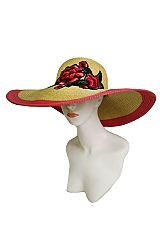 Oversized Blossom Peony Embroidered Applique On Two Tone Floppy Sun Hat