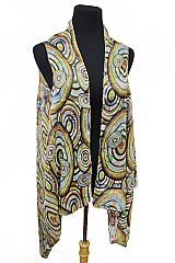 Reversible Spiral Circle With Lettering Kimono Vest