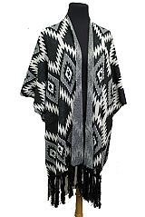 Tribal Pattern Knitted Softness Thick Open Poncho