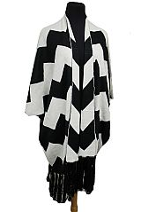Pattern Knitted Softness Thick Open Poncho