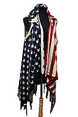 American Flag Design with Hoodie Fringe Softness Knitted Long Sleeveless Cardigan Style