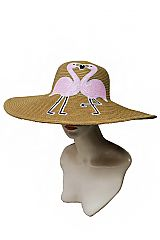 Sequins Couple Flamingo Standard Brimmed Toyo Straw Sun Hat
