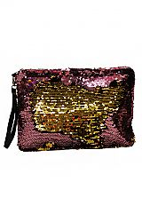 Two Toned Sequins Textured Clutch Cosmetic Pouch
