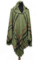 Plaid Pattern Super Softness with Hooded Fringe Poncho