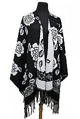 Floral Printed Wool Softness Feel Reversible Two Tone Cape style Poncho