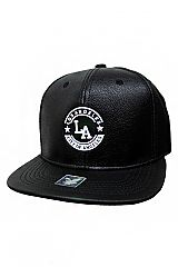 Silicone Patched Luxurious Black Faux Leather Finished Snap Back