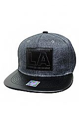 Faux Leather Stitch Embroidered and Billed Heather Gray Colored Snap Back