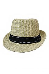 Woven Hatched Pattern Dashed Lined Black Band straw Fedora