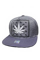 Paisley Patterned and Marijuana Silicone Patched Snap Back
