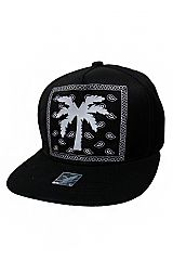 Palm Tree Silicone Patched and Paisley Printed Snap Back