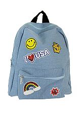 Sequin Patch Work Basic Dome Zip Closure Back Pack