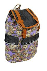 Multiple Pocketed Floral Canvas Large Sized Back Pack