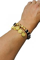 Chunky Gold Clustered Bead Stretch Christ the Redeemer Statue Boho Bracelets