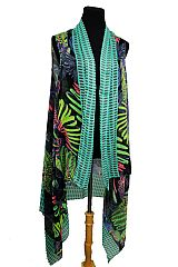 Colorful Tropical Parrot Print Super Softness Semi Sheer Sleeveless Vest Kimono