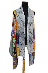 Colorful chromatic Stenciled Leaf Super Softness Semi Sheer Sleeveless Vest Kimono
