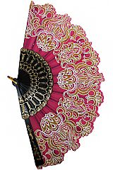 Gold Glitter Floral Printed Luxurious Chinese Traditional Fan