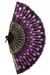 Sequins Floral Printed Luxurious Chinese Traditional Fan