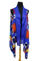 Square within Square Colorful Design Semi Sheer Sleeveless Vest Kimono