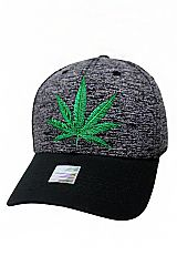 Cannabis Leaf Embroidered Two Tone Six Panel Baseball Styled Dad Hat