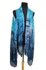 Cathedral Angel tree in London design Print Semi Sheer Sleeveless Vest Kimono