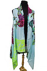 Colorful Vibrant Butterfly Kimono Vest Cover Ups